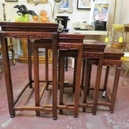 Vintage antique set of 4 Chinese rosewood nesting tables c. 1960 – $225/set
