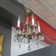 Vintage antique brass and crystal 5 arm chandelier c. 1940 – $295