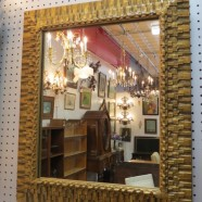 Vintage Mid-Century Modern gilt wood carved mirror – $150