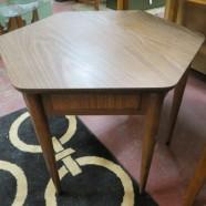 SALE! Vintage Mid-Century Modern hexagonal walnut side table – $67