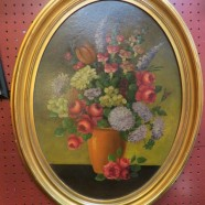 SALE!  Vintage antique oval frame oil painting – $102