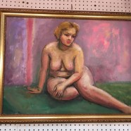 Vintage mid century modern abstract nude oil painting c. 1960 – $165