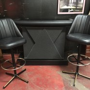 SALE! Vintage mid century modern black and grey bar with 2 bar stools – $395