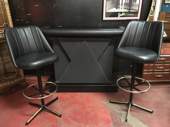 SALE! Vintage mid century modern black and grey bar with 2 bar stools – $395 for the set