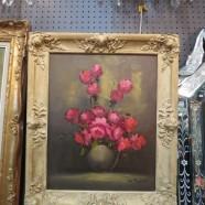 Vintage antique floral signed oil painting on canvas c. 1900 – $195