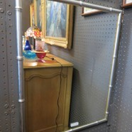 Vintage mid century modern silver metal faux bamboo framed mirror c. 1960 – $125