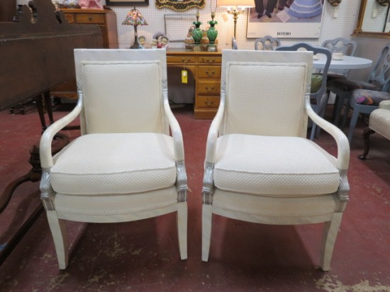 SALE! Vintage antique Empire style pair lacquered dolphin arm chairs – $495 for the set