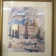 Vintage antique large watercolor of Chicago's original post office c. 1960 – $150