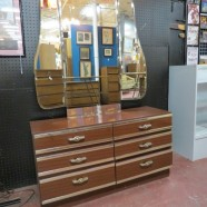 SALE! Vintage mid century modern unusual vanity/ dresser with mirror c. 1970 – $195