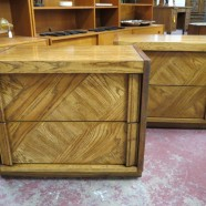 SALE! Vintage mid-century modern pair of oak nightstands – $95 pair