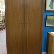 Vintage mid-century modern unusual walnut wardrobe armoire – $295