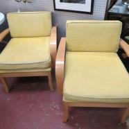 SALE! Vintage mid century modern pair of solid oak lounge chairs – $230