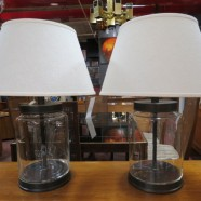 Vintage pair of industrial lamps with shades – $115