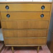 SALE! Vintage mid century modern walnut 5 drawer chest by Stanley – $350