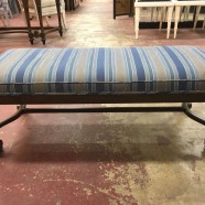 SALE! Vintage antique striped tudor revival bench c. 1930 – $150
