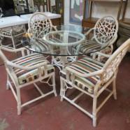 SALE! Vintage mid-century modern white washed rattan dining set – $350