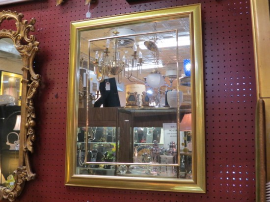 SALE! Vintage mid-century modern gold and brass mirror – $50