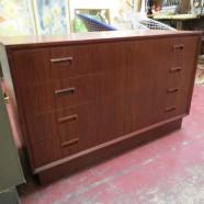 Vintage Danish modern 3 drawer teak credenza – $325