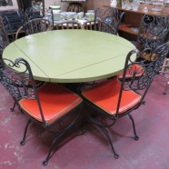 Vintage mid-century modern wrought iron table and 6 chairs – $750