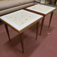 Vintage mid-century modern pair of small tile top tables – $35 each