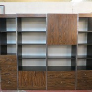 Vintage mid-century modern set of 4 Rosewood laminate wall cabinets – $495