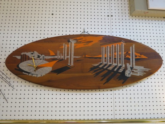 Vintage mid-century modern Dali-esque painted wood scene with a clock – $245