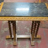 Vintage antique marble top carved walnut side table – $345