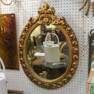 Vintage antique ornate gilt oval mirror – $165