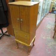 Vintage antique oak jewelry floor chest – $95