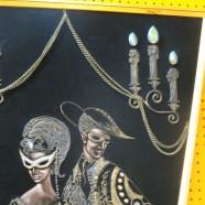 Vintage mid-century modern black velvet masquerade art – $175