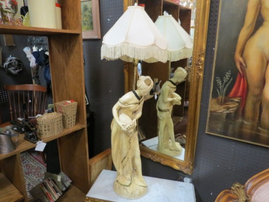 SALE! Vintage antique tall figural lamp with shade – $95