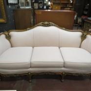 SALE! Vintage antique Louis XV style pink carved walnut sofa, c. 1930 – $495