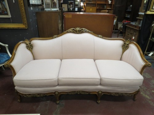 Vintage antique Louis XV style pink carved walnut sofa, c. 1930 – $695
