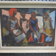 Vintage antique Black Americana abstract signed oil painting – $125