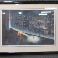 Vintage mid-century modern cityscape lithograph – $295