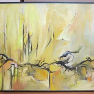 Vintage mid-century modern abstract signed oil painting – $295