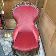 Vintage antique carved walnut Victorian arm chair – $200