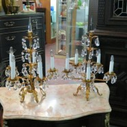 SALE! Vintage pair of Italian gilt metal and crystal candelabra lamps