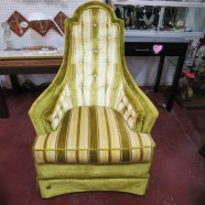 Vintage mid-century modern lime green striped lounge chair – $175