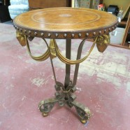 SALE! Vintage antique Maitland-Smith brass rams head round side table – $400