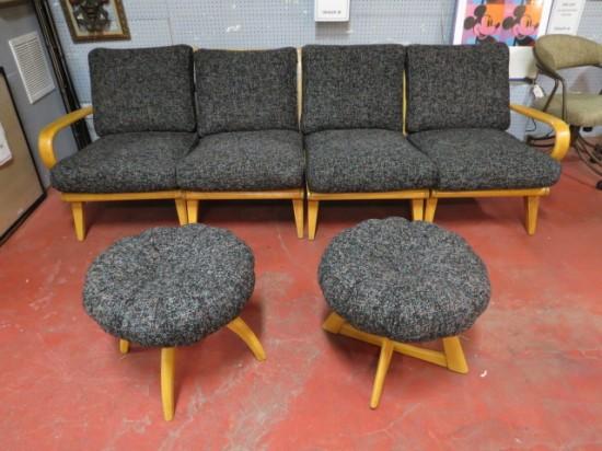 Vintage mid-century modern Heywood Wakefield 4 pc. Aristocraft sectional sofa and 2 footstools – $995 set