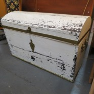 Vintage antique Shabby chic wood trunk – $165