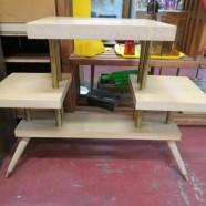 Vintage mid-century modern blonde wood multi-shelf table – $95