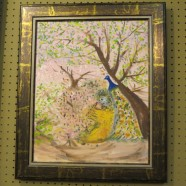 Vintage antique peacock abstract oil painting – $75