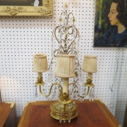 SALE! Vintage antique gilded bronze French style 3 light lamp – $350