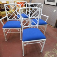 Vintage antique set of 4 metal Chinese Chippendale faux bamboo chairs – $495 set