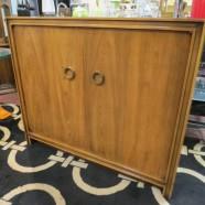 SALE! Vintage mid-century modern 2 door walnut cabinet – $275