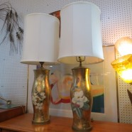 Vintage antique Hollywood Glam pair of gold leaf glass lamps – $235 pair
