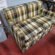 Vintage mid-century modern plaid retro 2 seat sofa/settee – $195