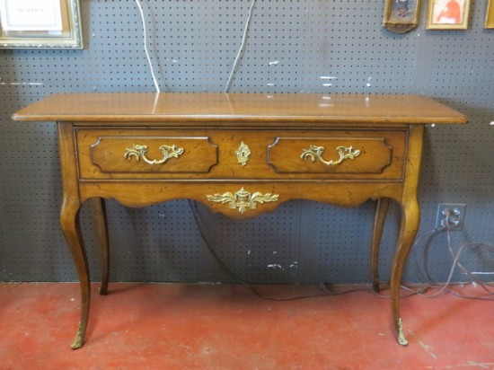 SALE! Vintage antique French style Bodart walnut console table/server – $395